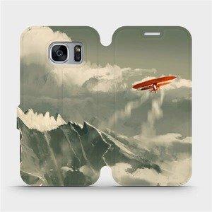 Flipové pouzdro Mobiwear na mobil Samsung Galaxy S7 Edge - MA03P Oranžové letadlo v horách