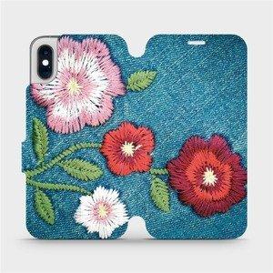 Flipové pouzdro Mobiwear na mobil Apple iPhone XS - MD05P Džínové květy