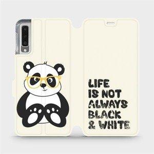 Flipové pouzdro Mobiwear na mobil Samsung Galaxy A7 2018 - M041S Panda - life is not always black and white