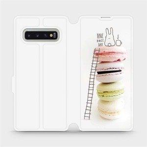 Flipové pouzdro Mobiwear na mobil Samsung Galaxy S10 Plus - M090P Makronky - have a nice day