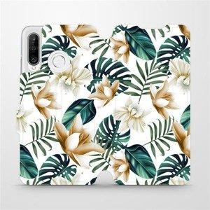 Flipové pouzdro Mobiwear na mobil Huawei P30 Lite - MC07P Zlatavé květy a zelené listy