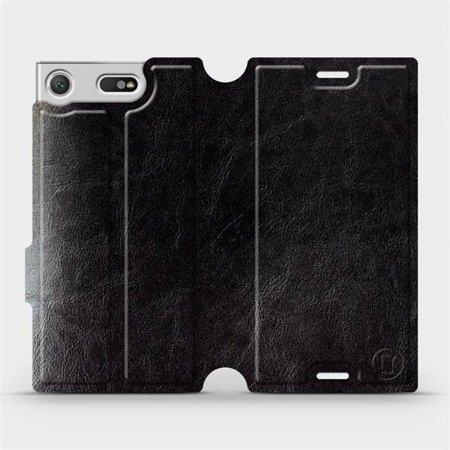 Parádní flip pouzdro Mobiwear na mobil Sony Xperia XZ1 Compact v provedení C_BLS Black&Gray s šedým vnitřkem