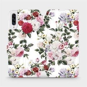 Flipové pouzdro Mobiwear na mobil Samsung Galaxy A30s - MD01S Růže na bílé