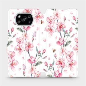 Flipové pouzdro Mobiwear na mobil Xiaomi POCO X3 NFC - M124S Růžové květy