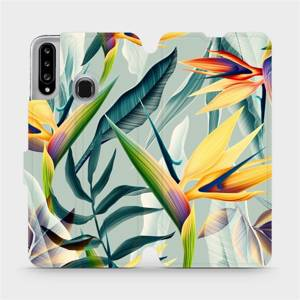 Flipové pouzdro Mobiwear na mobil Samsung Galaxy A20S - MC02S Žluté velké květy a zelené listy