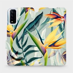 Flipové pouzdro Mobiwear na mobil Vivo Y11S - MC02S Žluté velké květy a zelené listy