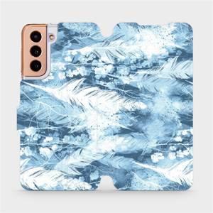 Flipové pouzdro Mobiwear na mobil Samsung Galaxy S21 5G - M058S Světle modrá horizontální pírka