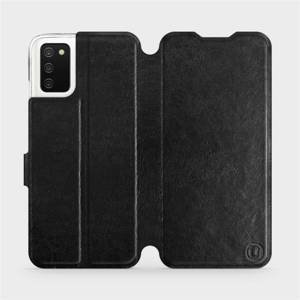 Flipové pouzdro Mobiwear na mobil Samsung Galaxy A02s v provedení C_BLS Black&Gray s šedým vnitřkem