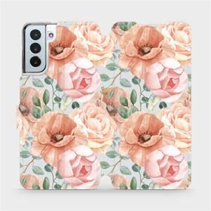 Flip pouzdro Mobiwear na mobil Samsung Galaxy S21 Plus - MP02S Pastelové květy