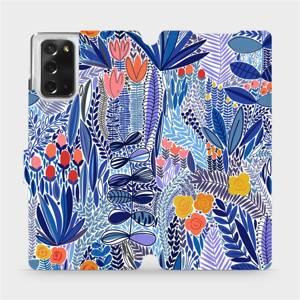 Flip pouzdro Mobiwear na mobil Samsung Galaxy Note 20 - MP03P Modrá květena