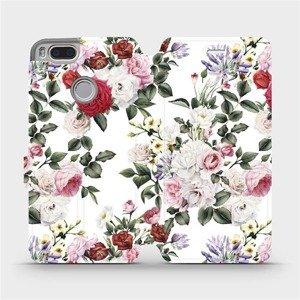 Flipové pouzdro Mobiwear na mobil Xiaomi Mi A1 - MD01S Růže na bílé