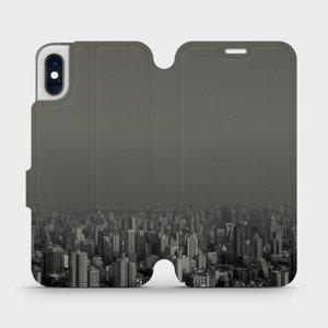Flipové pouzdro Mobiwear na mobil Apple iPhone XS - V063P Město v šedém hávu