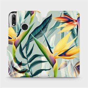 Flipové pouzdro Mobiwear na mobil Huawei Y7 2019 - MC02S Žluté velké květy a zelené listy