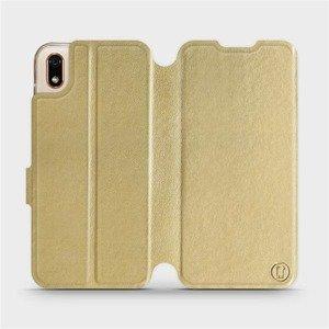 Flipové pouzdro Mobiwear na mobil Huawei Y5 2019 v provedení C_GOS Gold&Gray s šedým vnitřkem