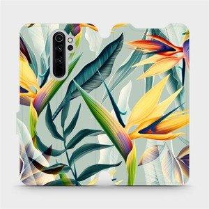 Flipové pouzdro Mobiwear na mobil Xiaomi Redmi Note 8 Pro - MC02S Žluté velké květy a zelené listy