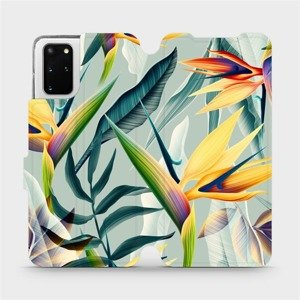 Flipové pouzdro Mobiwear na mobil Samsung Galaxy S20 Plus - MC02S Žluté velké květy a zelené listy