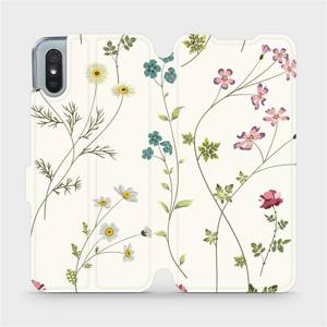 Flipové pouzdro Mobiwear na mobil Xiaomi Redmi 9A - MD03S Tenké rostlinky s květy