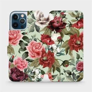 Flipové pouzdro Mobiwear na mobil Apple iPhone 12 Pro Max - MD06P Růže a květy na světle zeleném pozadí