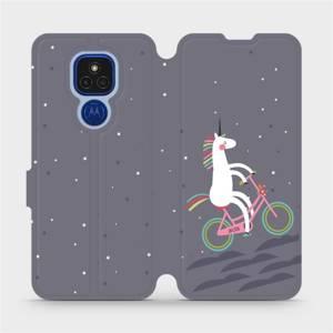 Flipové pouzdro Mobiwear na mobil Motorola Moto E7 Plus - V024P Jednorožec na kole