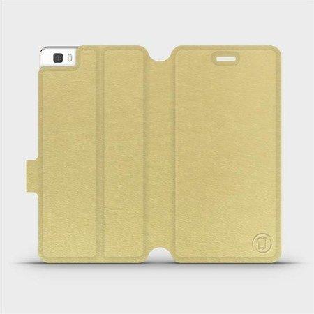 Parádní flip pouzdro Mobiwear na mobil Huawei P8 Lite v provedení C_GOS Gold&Gray s šedým vnitřkem