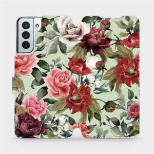 Flipové pouzdro Mobiwear na mobil Samsung Galaxy S21 Plus 5G - MD06P Růže a květy na světle zeleném pozadí