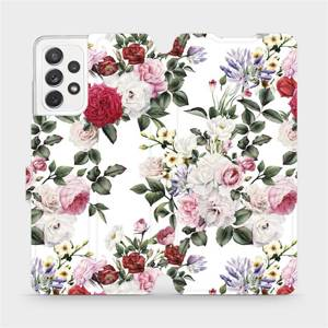 Flipové pouzdro Mobiwear na mobil Samsung galaxy A72 5G - MD01S Růže na bílé