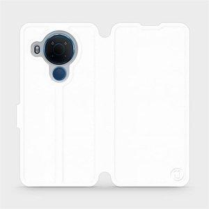 Flipové pouzdro Mobiwear na mobil Nokia 5.4 v provedení C_WHS White&Gray s šedým vnitřkem