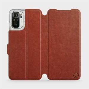 Flipové pouzdro Mobiwear na mobil Xiaomi Redmi Note 10S v provedení C_BRP Brown&Orange s oranžovým vnitřkem