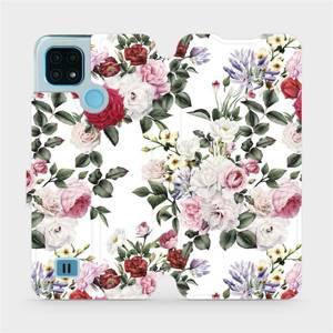 Flip pouzdro Mobiwear na mobil Realme C21 - MD01S Růže na bílé