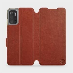 Flip pouzdro Mobiwear na mobil Xiaomi Poco M3 Pro 5G v provedení C_BRP Brown&Orange s oranžovým vnitřkem