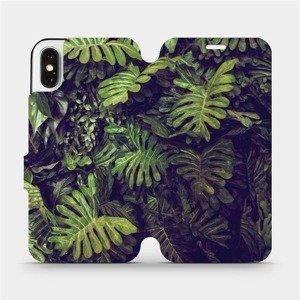 Flipové pouzdro Mobiwear na mobil Apple iPhone X - V136P Zelená stěna z listů