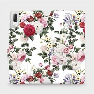 Flipové pouzdro Mobiwear na mobil Sony Xperia L3 - MD01S Růže na bílé