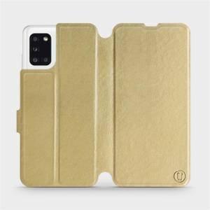 Flipové pouzdro Mobiwear na mobil Samsung Galaxy A31 v provedení C_GOS Gold&Gray s šedým vnitřkem