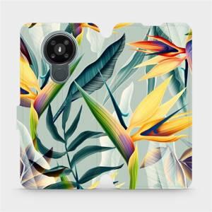 Flipové pouzdro Mobiwear na mobil Nokia 3.4 - MC02S Žluté velké květy a zelené listy