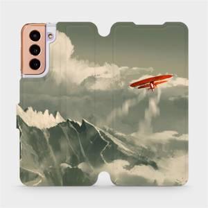 Flipové pouzdro Mobiwear na mobil Samsung Galaxy S21 5G - MA03P Oranžové letadlo v horách