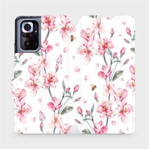 Flipové pouzdro Mobiwear na mobil Xiaomi Redmi Note 10 Pro - M124S Růžové květy