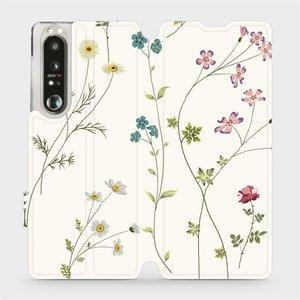 Flip pouzdro Mobiwear na mobil Sony Xperia 1 III - MD03S Tenké rostlinky s květy