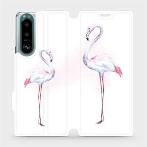 Flip pouzdro Mobiwear na mobil Sony Xperia 5 III - M005S Plameňáci