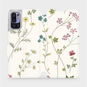 Flip pouzdro Mobiwear na mobil Xiaomi Redmi Note 10 5G - MD03S Tenké rostlinky s květy
