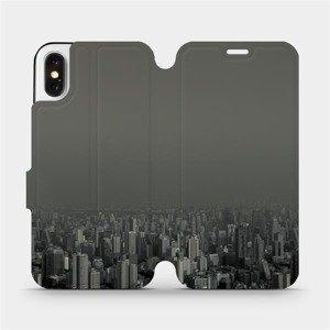 Flipové pouzdro Mobiwear na mobil Apple iPhone X - V063P Město v šedém hávu
