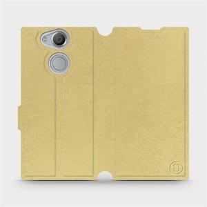 Parádní flip pouzdro Mobiwear na mobil Sony Xperia XA2 v provedení C_GOP Gold&Orange s oranžovým vnitřkem