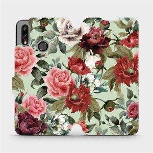 Flipové pouzdro Mobiwear na mobil Huawei P Smart 2019 - MD06P Růže a květy na světle zeleném pozadí