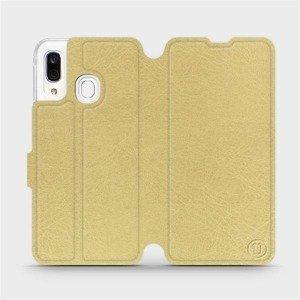 Flipové pouzdro Mobiwear na mobil Samsung Galaxy A40 v provedení C_GOS Gold&Gray s šedým vnitřkem