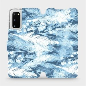 Flipové pouzdro Mobiwear na mobil Samsung Galaxy S20 - M058S Světle modrá horizontální pírka