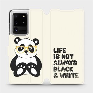 Flipové pouzdro Mobiwear na mobil Samsung Galaxy S20 Ultra - M041S Panda - life is not always black and white