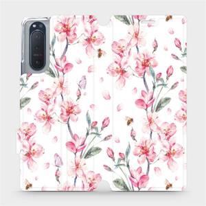 Flipové pouzdro Mobiwear na mobil Sony Xperia 5 II - M124S Růžové květy