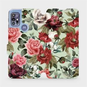 Flipové pouzdro Mobiwear na mobil Motorola Moto G30 - MD06P Růže a květy na světle zeleném pozadí