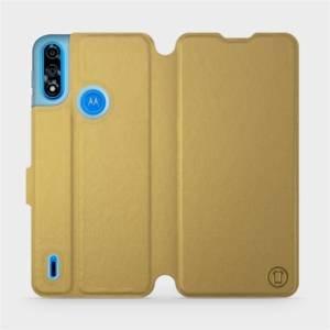 Flipové pouzdro Mobiwear na mobil Motorola Moto E7i Power v provedení C_GOS Gold&Gray s šedým vnitřkem