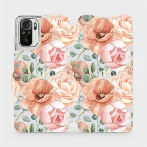 Flip pouzdro Mobiwear na mobil Xiaomi Redmi Note 10s - MP02S Pastelové květy