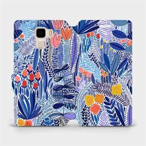 Flip pouzdro Mobiwear na mobil Honor 7 - MP03P Modrá květena